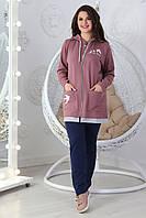 Стильный повседневный женский костюм «Адина» (Серый, розовый, синий, бордовый | С 48 по 62)