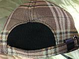 Бейсболка коричневая с бежевым в клетку утеплённая 56-57, фото 4