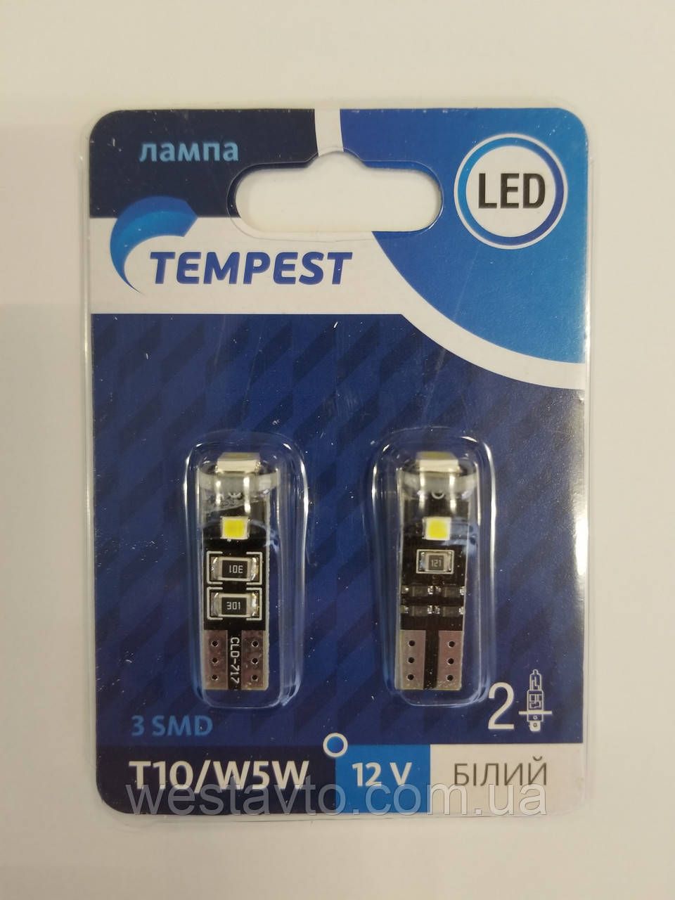 Лампа LED б/ц габарит и панель приборов T10 доп. сопр. 2SMD W5W 12V WHITE2шт. блистер