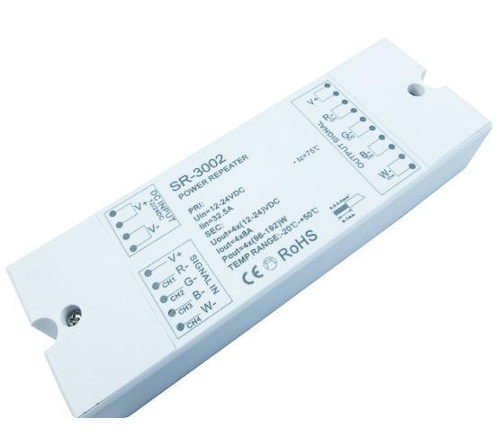 LED повторювач 4 канальний SR-3002 RGBY світлодіодних стрічок 12-36в 8А канал загальний анод 4155