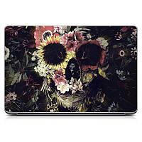 Необычная декоративная наклейка стикер на крышку ноутбука Flowers Skull Матовая