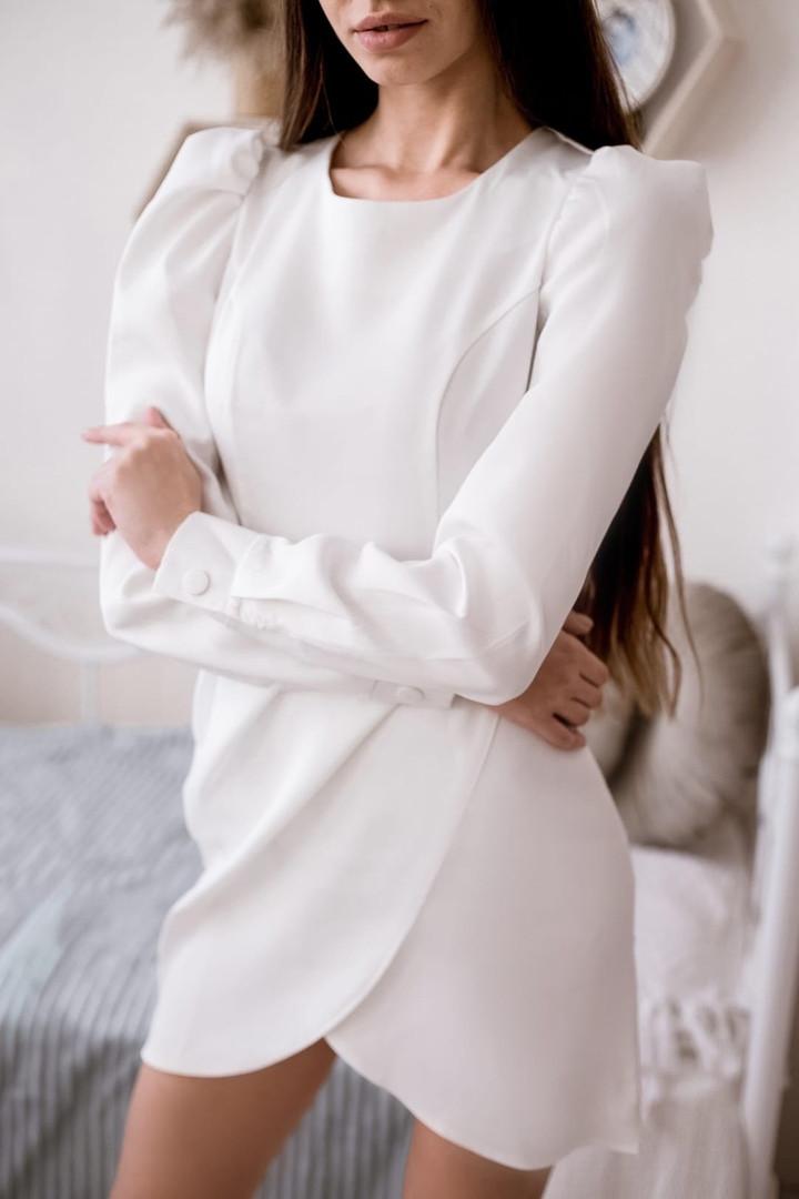 Укороченное платье на запах с длинным рукавом-фонарик из ткани костюмка , 2цвета , р-р. 42-44,44-46 Код 4028Ж
