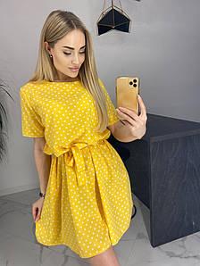Летнее платье в горошек свободного фасона
