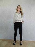 Нарядный женский костюм бежево-черный, с бомбером и классическими черными брюками, офисный, повседневный