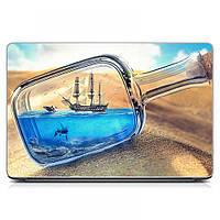 Виниловый стикер для ноутбука Парусник в бутылке Матовая