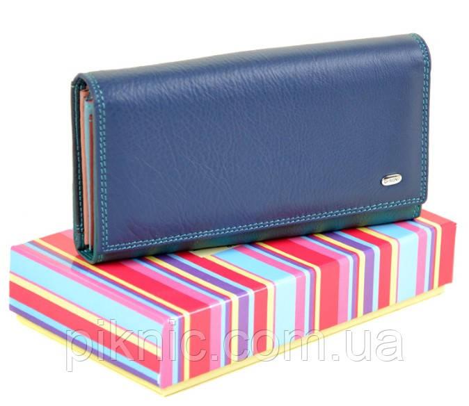 Женский кожаный кошелек, клатч, портмоне Rainbow Dr Bond. Из натуральной кожи. Синий