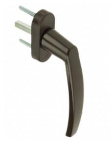 Ручка для металлопластикового окна Medos Victory RAL 8019 коричневая штифт 40 мм 8 положений
