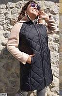Пальто женское демисезонное шерсть+акрил/стеганная плащевка на синтепоне 48-64 батал р.,цвет черный+бежевый