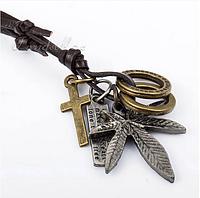 Мужское ожерелье кулон подвески Конопляный Лист Крест