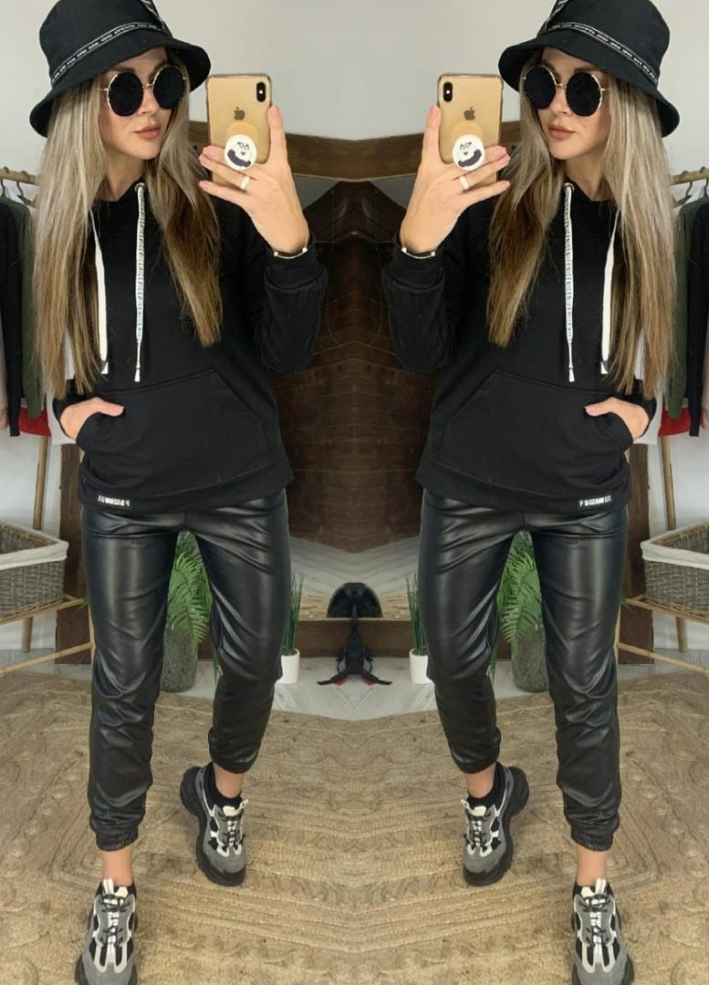 Женский стильный черный костюм:кофта с капюшоном и кожаные джоггеры