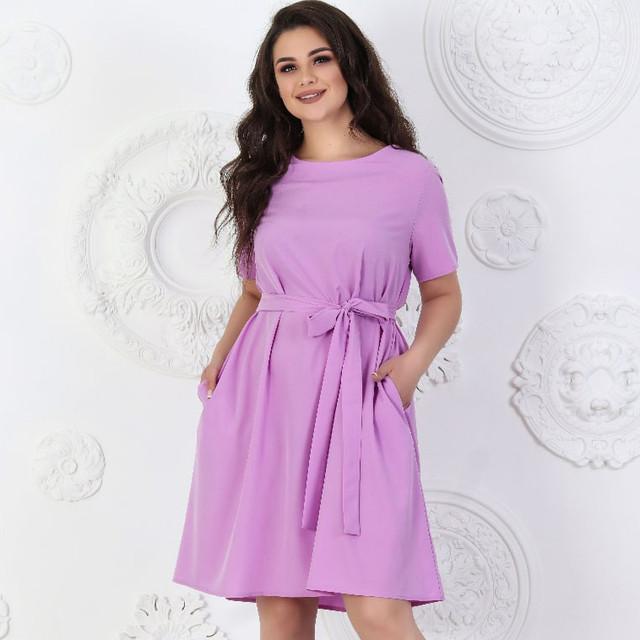 Лёгкое однотонное платье прямого кроя