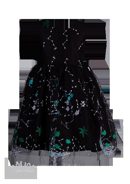 Оригинальное черное платье с абстрактной вышивкой для девочки на праздник