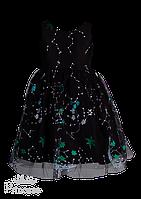 Оригинальное черное платье с абстрактной вышивкой для девочки на праздник, фото 1