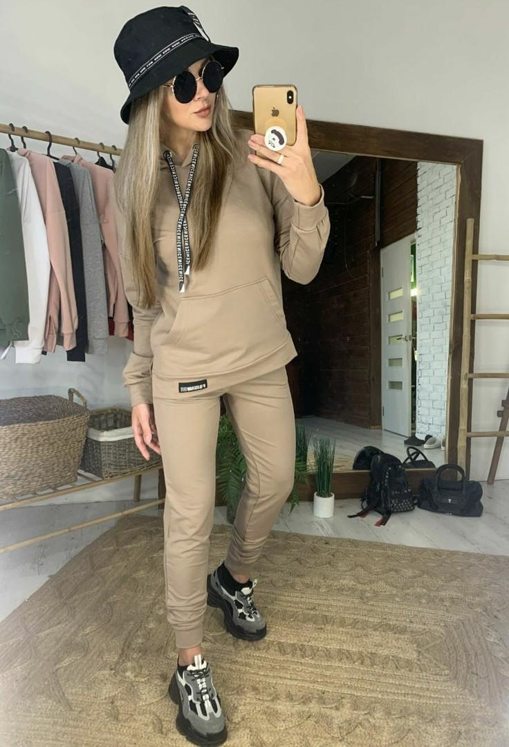 Женский модный спортивный костюм с капюшоном,бежевого цвета