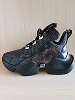 Чёрныелетние кожаные женские кроссовки Molly Bessa. Турция