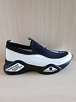 Черно-белые кожаные женские летние кроссовки Molly Bessa. Турция