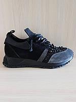 Чёрные замшевые женские кроссовки N55. Турция
