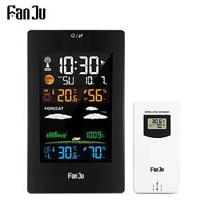 Домашня цифрова метеостанція FanJu 3389 з зовнішнім бездротовим датчиком. Чорний колір