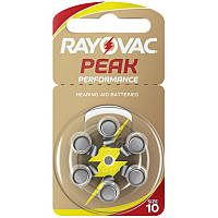Батарейки для слуховых аппаратов Rayovac Peak Performance 10, 6 шт.
