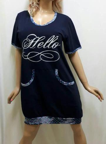 Туника для дома, ночная рубашка, сорочка женская на манжете с карманом, размеры от 48 до 54