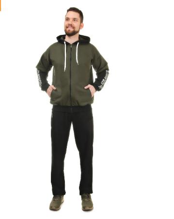 Мужской спортивный костюм из трикотажа демисезонный куртка на молнии вшитый капюшон