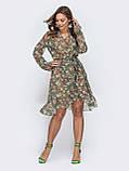 Платье из шифона на запах с принтом, фото 4