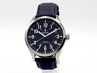 Мужские часы Slava синий циферблат, серебристый корпус, кожаный ремешок (12078), фото 1