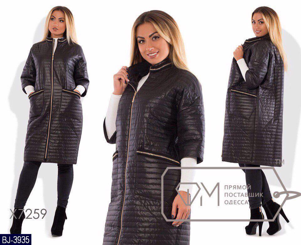 Стеганное пальто куртка больших размеров, черный 48-62