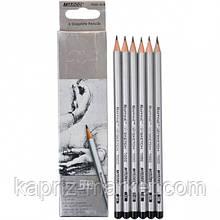 Олівці прості, набір 6 шт. 2H-3B, Marco