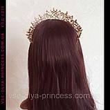 Діадема корона тіара під золото з прозорими каменями, висота 6,5 див., фото 6