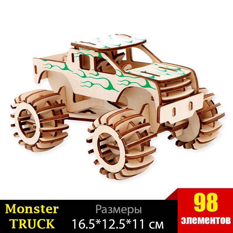 Конструктор деревянный 3Д пазл машина Монстер ТРАК  98 элемента