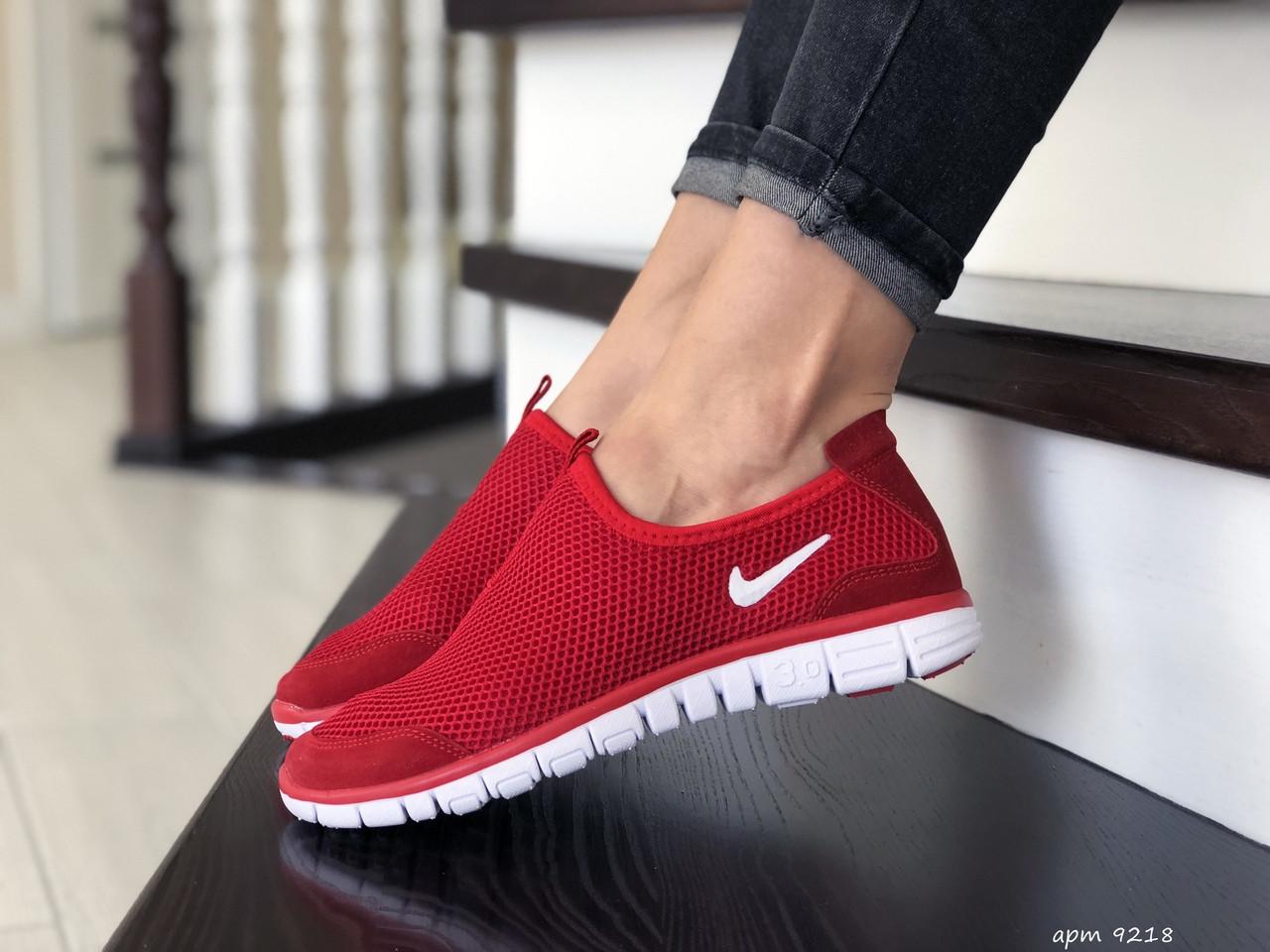 Женские кроссовки летние Nike Free Run 3.0,красные