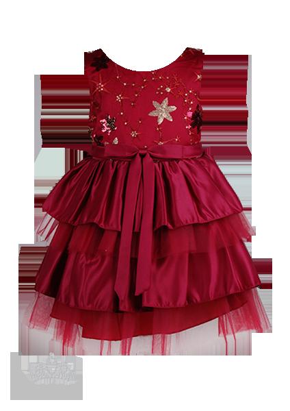 Вишневое платье с вышивкой по груди и комбинированной юбкой для девочки на праздник