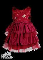 Вишневое платье с вышивкой по груди и комбинированной юбкой для девочки на праздник, фото 1