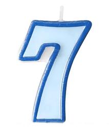 Свеча цифра голубой кант 7