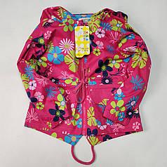 Детская куртка ветровка для девочки розовая цветы 6-7 лет