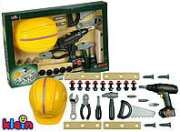 Дитячий Ігровий Безпечний Великий Набір інструментів з каскою і шуруповертом 8 предметів Bosh Klein Кляин