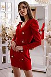 Коктейльное маленькое платье с длинным рукавом и пуговицами, 3цвета , р-р. 42-44,46-48  Код 4019Ж, фото 4