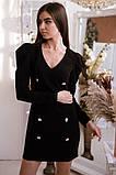 Коктейльное маленькое платье с длинным рукавом и пуговицами, 3цвета , р-р. 42-44,46-48  Код 4019Ж, фото 6