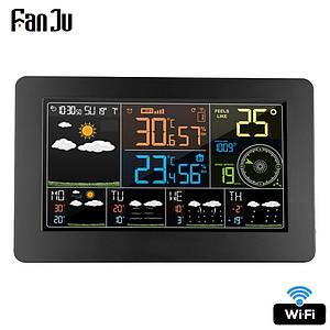 Домашня метеостанція цифрова FanJu FJW4 з WiFi підключенням, барометр, термометр, гігрометр, прогноз погоди