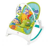 Дитяче Портативне Крісло-Шезлонг 3в1 Тропічний ліс з легкою вібрацією, знімною дугою Fisher Price