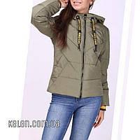Демисезонная укороченая куртка  цвета хаки размер 46, фото 1