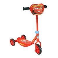 Детский Трехколесный Самокат Молния Маккуин Тачки с пластиковыми колесами, руль 65 см, оранжевый Smoby Смоби