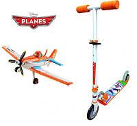 Детский Складной Двухколесный Самокат Самолеты широкая платформа, резиновые колеса, регулир. руль, Smoby Смоби