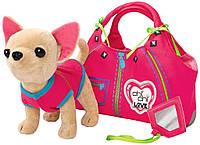 Детская Плюшевая Игрушка для Девочек Cобачка Чи Чи Лав Молния в розовой сумочке и комбинезоне Chi Chi Love