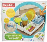 Универсальный Набор посуды для кормления малыша с корзиной для хранения и мытья Fisher Price Фишер из пластика