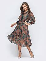 Шифоновое платье коричневое миди весна-лето 44 46 48 50