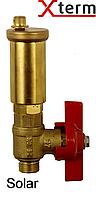 """Afriso 3/8"""" автоматический воздухоотводчик с шаровым краном для солнечных систем, латунь, Афризо 77996"""