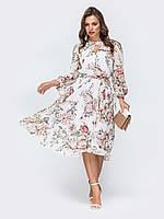 Шифоновое вечернее платье белое миди 44 46 48 50 52 54