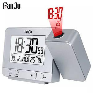 Цифрові годинник FanJu FJ3531 з проекцією, термометром, гігрометром і портом USB для зарядки ваших пристроїв. Сер